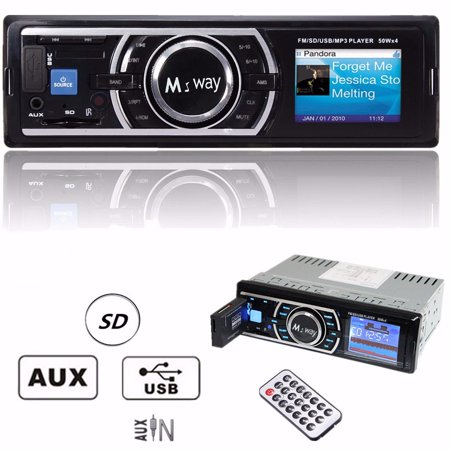 - Multimedia Large LCD Display Car Stereo Audio Receiver Single Din, bluetooth Audio Hands-Free Calling, Built-in Microphone, MP3, USB, AUX , AM/FM Radio Receiver, Wireless Remote