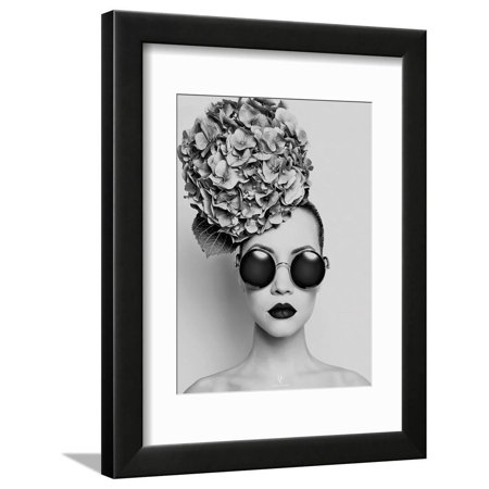 Petunia Modern Fashion Forward Black and White Photo of Woman with Sunglasses and Flowers in Hair Framed Print Wall Art By Haute Couture ()