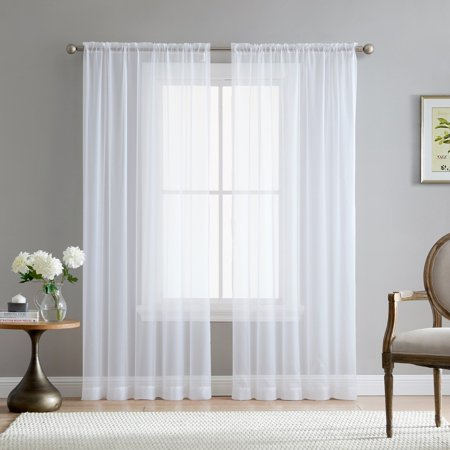 Addison Sheer Voile Window Curtain Solid Panels - Set of 2