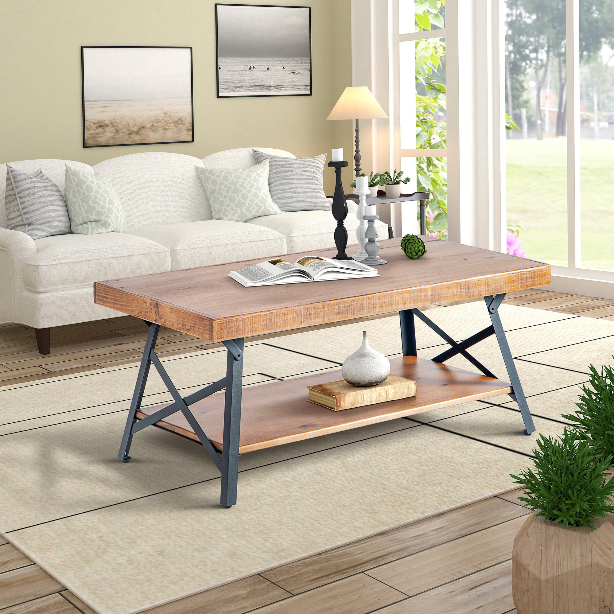 Exceptionnel Harperu0026Bright Designs Solid Wood Coffee Table With Metal Legs For Living  Room
