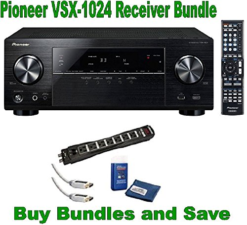 Pioneer VSX-1024 7.2-Channel Network A/V Receiver + Monster Power Cable HDMI and Screen Clean Bundle