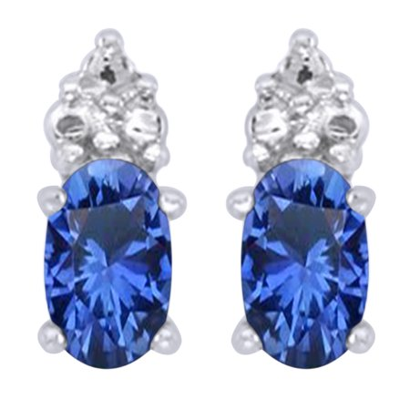 Gold Oval Cut Lab (Oval Cut Simulated Blue Sapphire With White CZ Cluster Drop Earrings In 14K Solid White Gold)