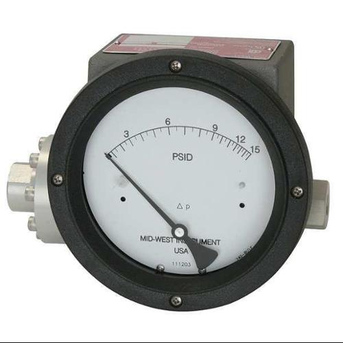 MIDWEST INSTRUMENT 240-SC-02-O(AAA)-50P Pressure Gauge, 0 to 50 psi by MIDWEST INSTRUMENT