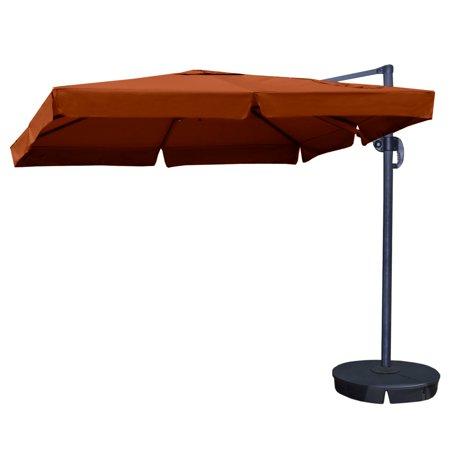 Image of Island Umbrella Santorini II 10-ft Square Cantilever Umbrella w/ Valance in Terra Cotta Sunbrella Acrylic