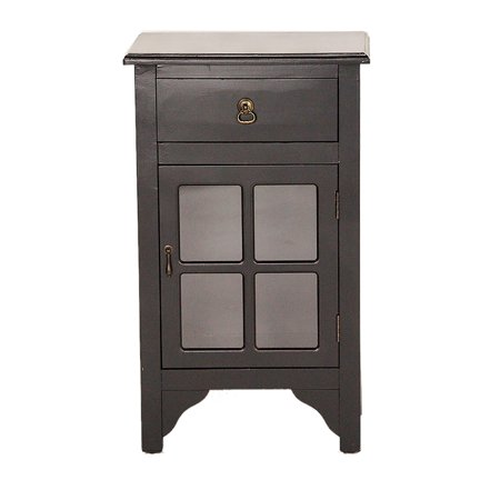 Glass Door Insert - Black Wood Mirrored Glass Accent Cabinet with a Drawer, a Door and Paned Inserts