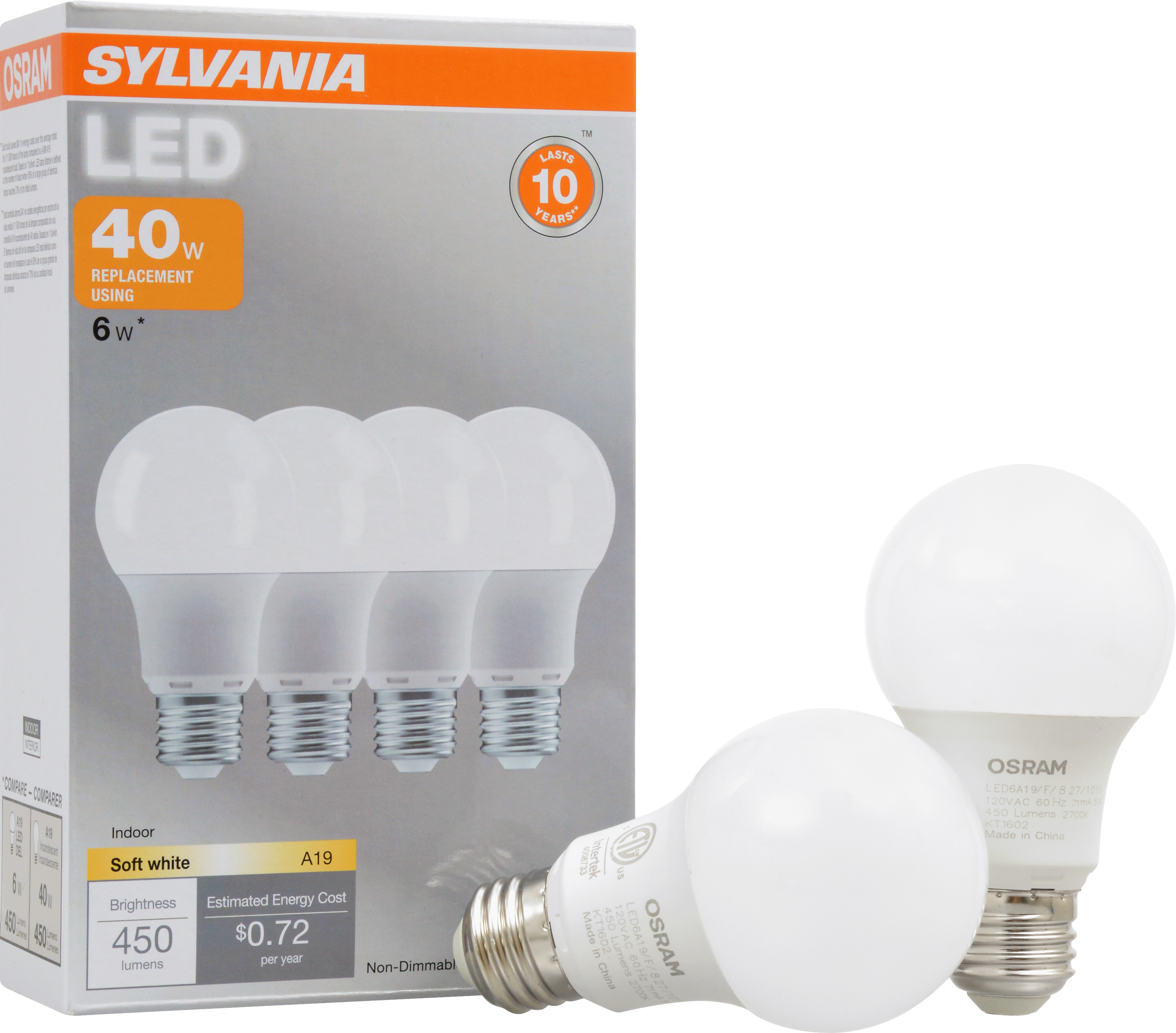 sylvania led light bulbs 6w 40w equivalent soft white 4