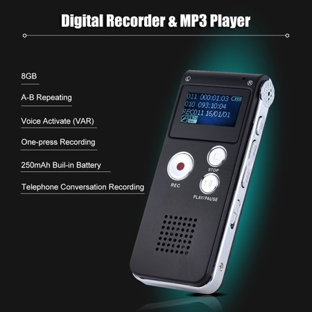 8GB Intelligent Digital Audio Voice Phone Recorder Dictaphone MP3 Music Player Voice Activate VAR A-B Repeating (Voice Recorder App For K)