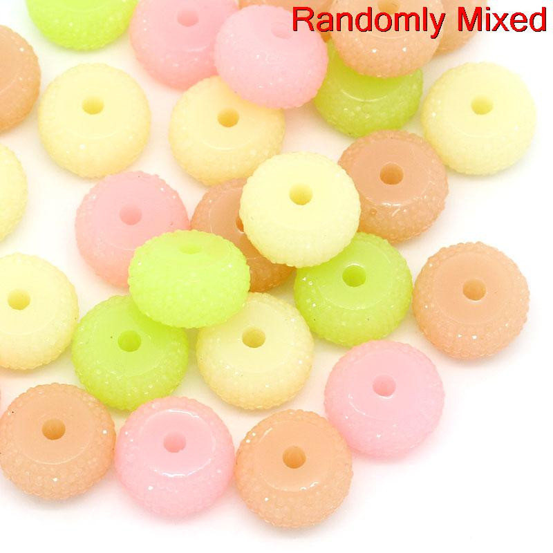 10 Pcs, Round Multicolor Resin Spacer Bead 16mm Dia, Hole: Approx 3mm