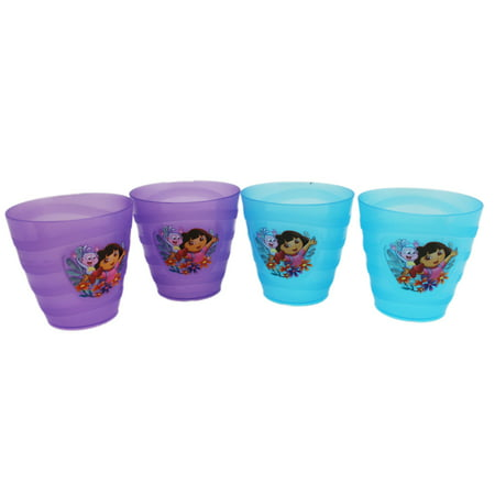 Dora The Explorer Cups (Dora the Explorer Violet and Blue Small Size Kids Cups (4pc) )