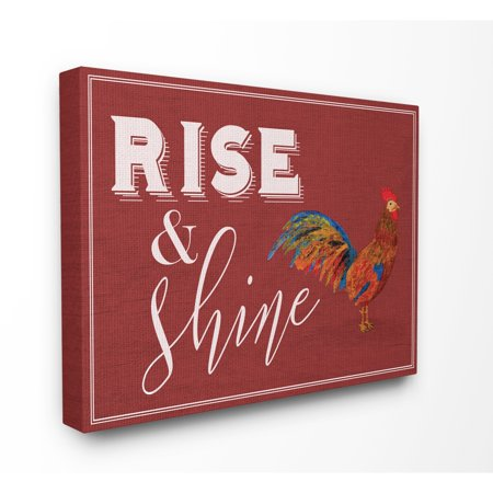 The Stupell Home Decor Collection Rise And Shine Rooster Red Stretched Canvas Wall Art, 16 x 1.5 x 20