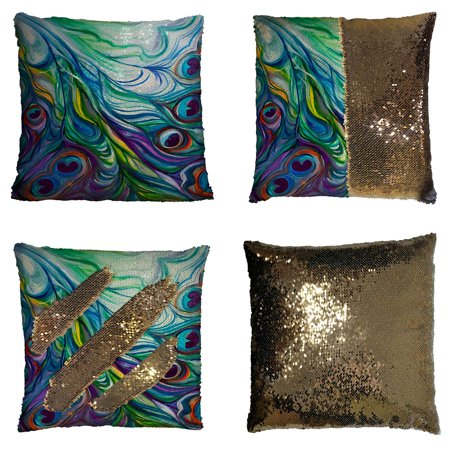 GCKG Peacock Pillowcase,Flawless Peacock Feathers Reversible Mermaid Sequin Pillow Case Home Decor Cushion Cover 16x16 inches
