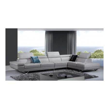 Vig Furniture Vgknk8488 Ltgry Divani Casa Quebec Modern Light Grey Italian Leather Sectional Sofa