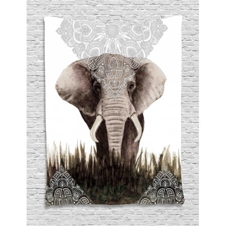 Boho Tapestry, Henna Tattoo Designs Theme Nepal Uncommon Lace Pattern Elephant Asian Animal, Wall Hanging for Bedroom Living Room Dorm Decor, Grey and Dark Green, by Ambesonne