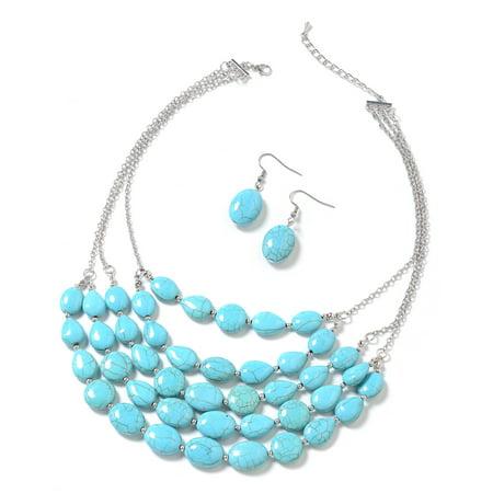 Mix Metal Silvertone Oval Blue Howlite Earrings Necklace 18