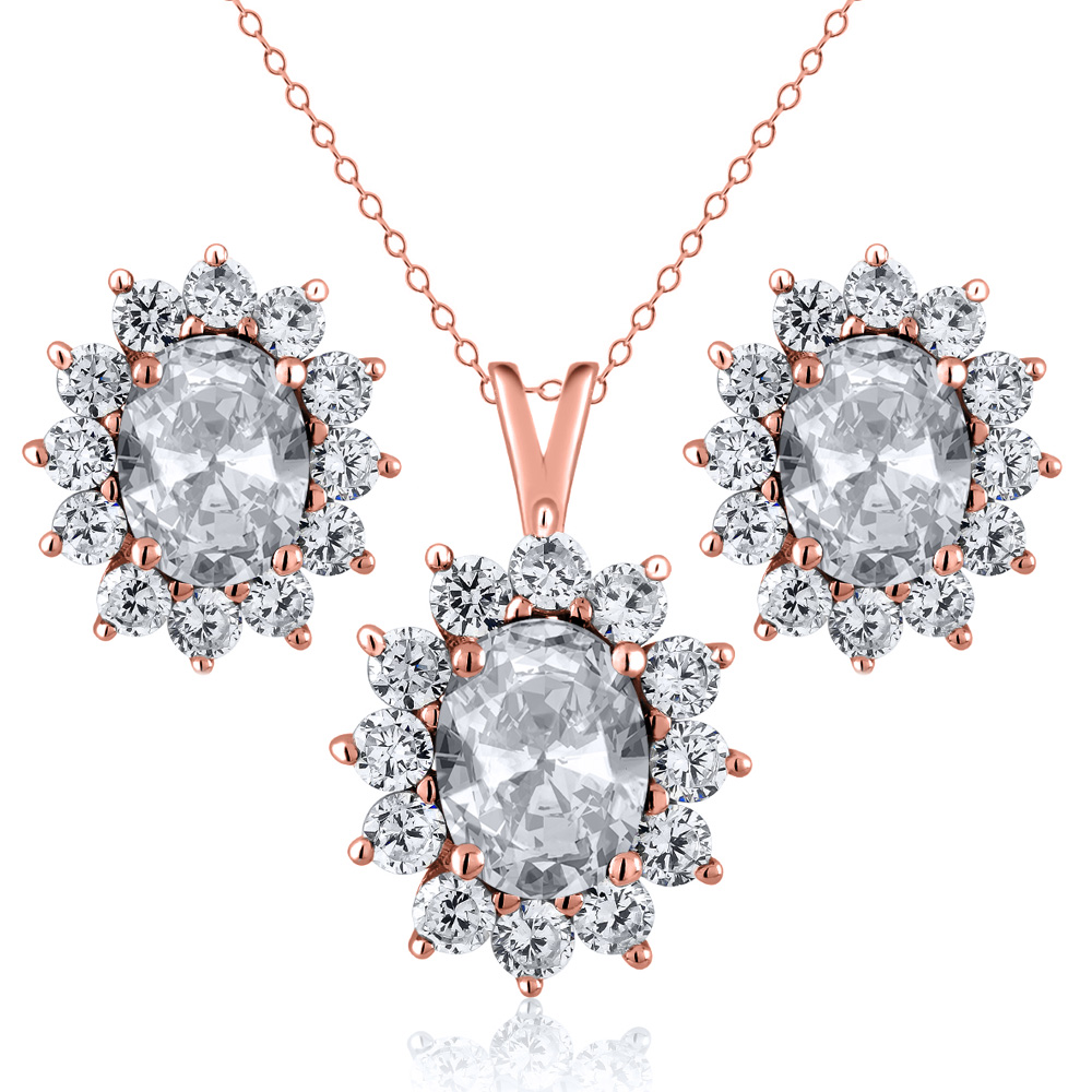 2.90 Ct Oval White Topaz 18K Rose Gold Plated Silver Pendant Earrings Set by