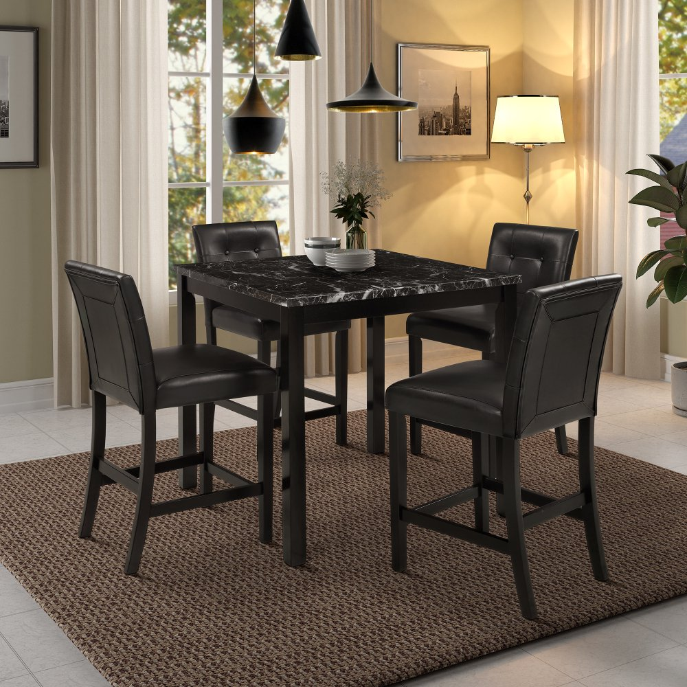 5piece kitchen table set marble top counter height dining
