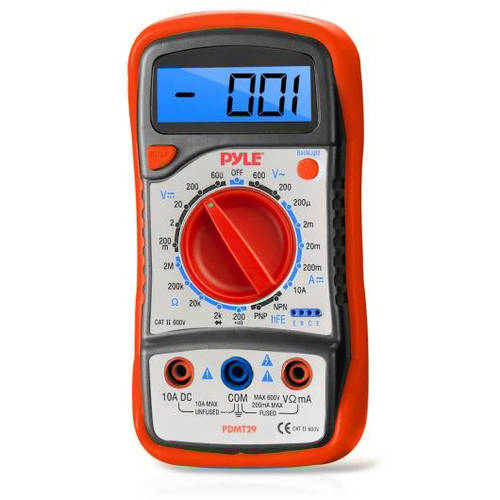 Pyle PDMT29 Digital LCD Multimeter, AC, DC, Volt, Current, Resistance and Range with Rubber Case and Stand