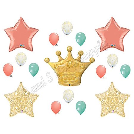 PRINCESS CORAL MINT GOLD Birthday Party Balloons Decoration Supplies Baby - Baby Birthday Supplies
