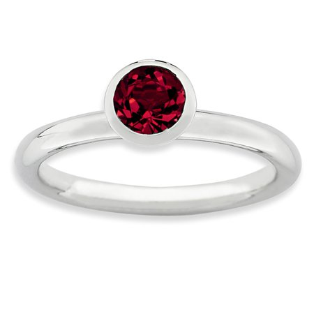 925 Sterling Silver High 5mm July Swarovski Band Ring Size 5.00 Stackable Birthstone Gemstone Created Ruby Fine Jewelry Ideal Gifts For Women Gift Set From -
