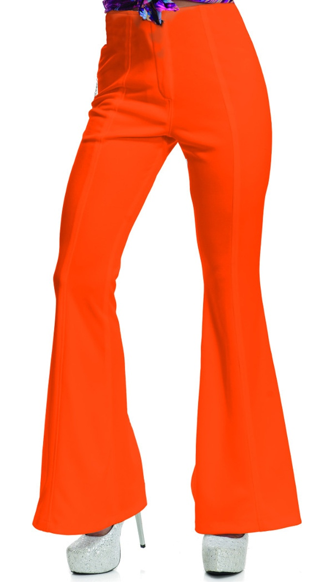 70/'s Women/'s Disco Pants by Charades Black Flare Pants Eras Costume Party
