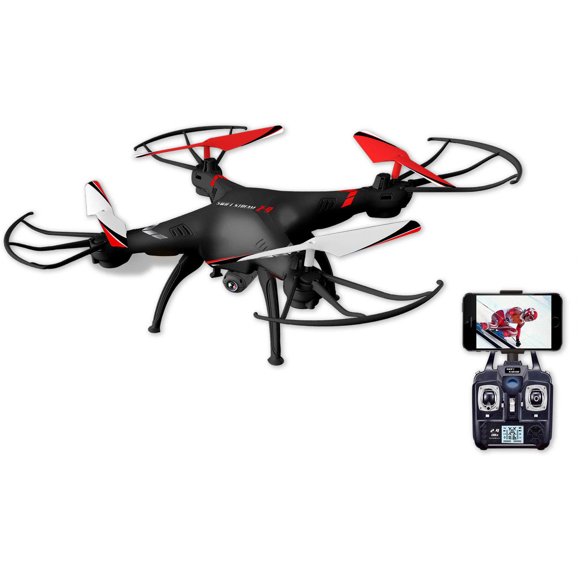 "Swift Stream Z-9 Remote Control 12"" Camera Drone, Black by Abrim Enterprises, Inc."