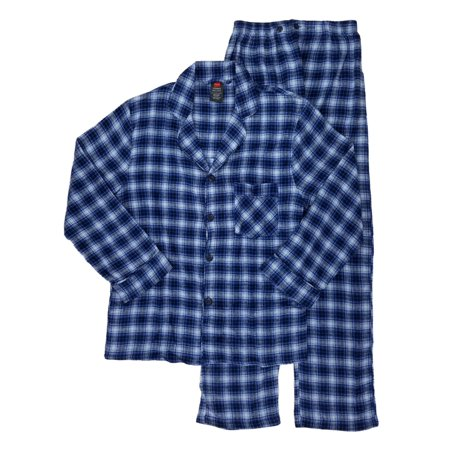 Hanes Classic Mens Blue Plaid Flannel Sleepwear Pajama (Mens Sleepwear Set)