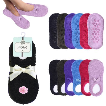 2 Pairs Womens Fuzzy Boat Socks Slippers Non-Slip Cozy Plush Foot Footies