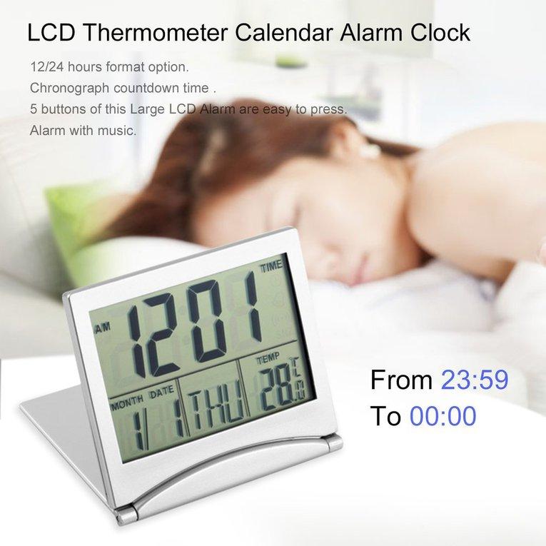 Digital LCD Display Thermometer Calendar Alarm Clock Flexible Cover Desk Clock by konxa