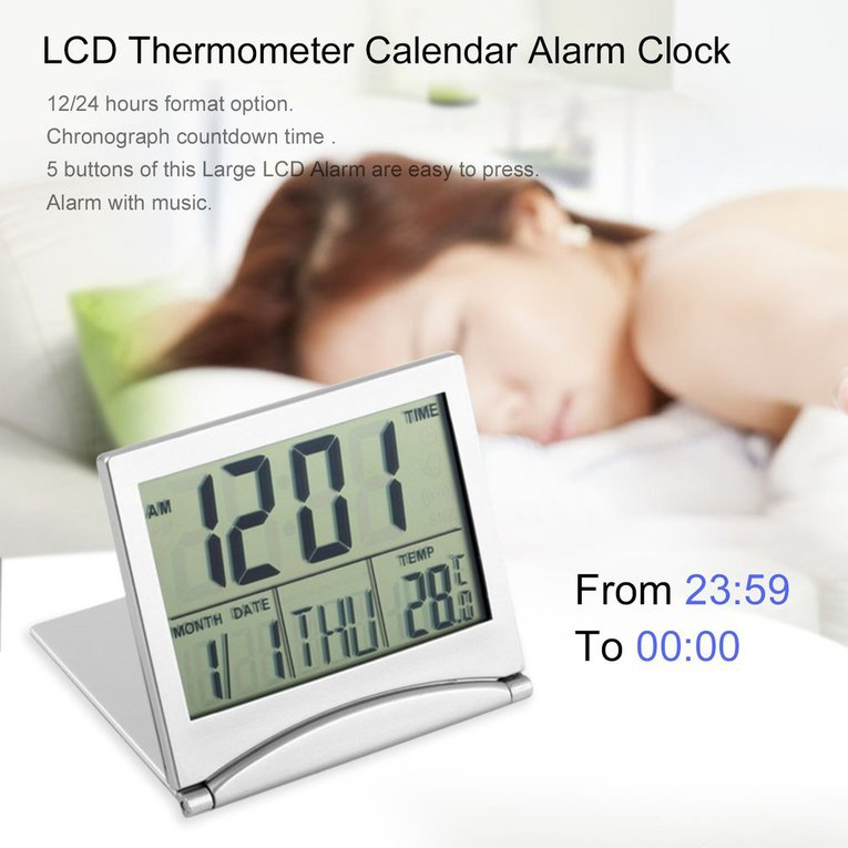 Digital LCD Display Thermometer Calendar Alarm Clock Flexible Cover Desk Clock