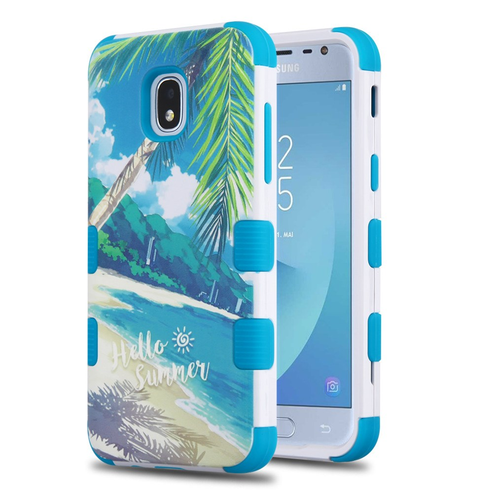 TUFF Hybrid Series Phone Protector Cover Case and Atom Cloth for Samsung Galaxy J3 Eclipse 2 J337V (2018) - Palm Beach/Tropical Teal