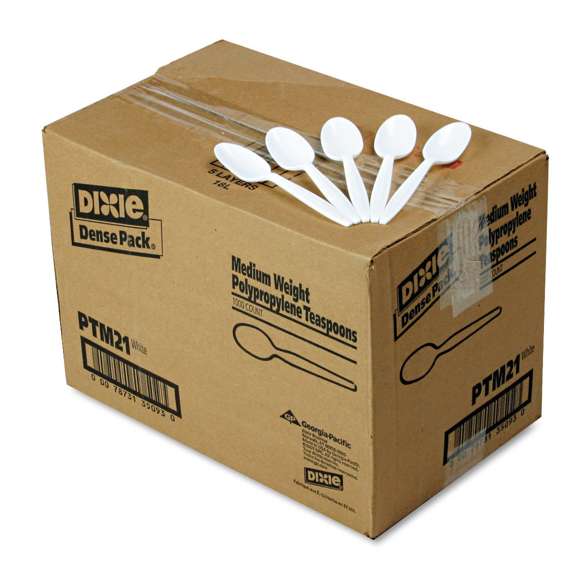 Dixie® White Medium Weight Plastic Spoons, Disposable Polypropylene Cutlery, PTM21, 1000ct