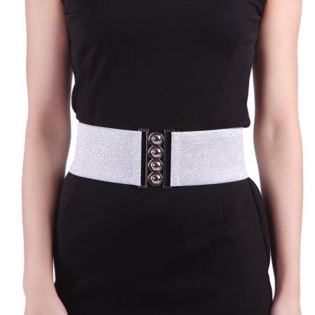 Cotton Elastic Waist Belt - HDE Women's Cinch Belt Elastic Stretch Fashion Waist Band W/ Clasp Buckle XS-5X