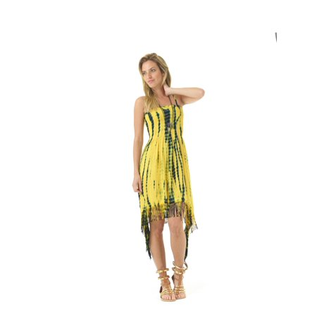 - Lagaci Boho Ballerina Tie Dye Smocked Top Dress w Asymmetrical Fringe Hem