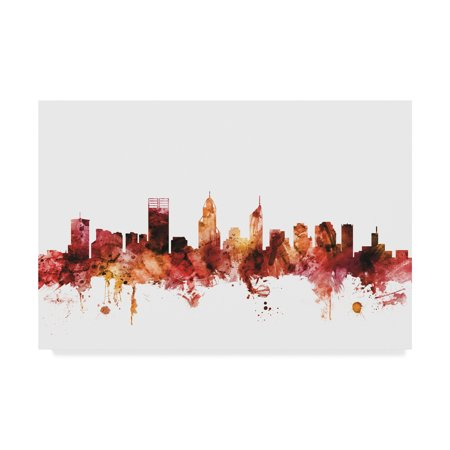 Trademark Fine Art 'Perth Australia Skyline Red' Canvas Art by Michael Tompsett - Red Dot Store Perth