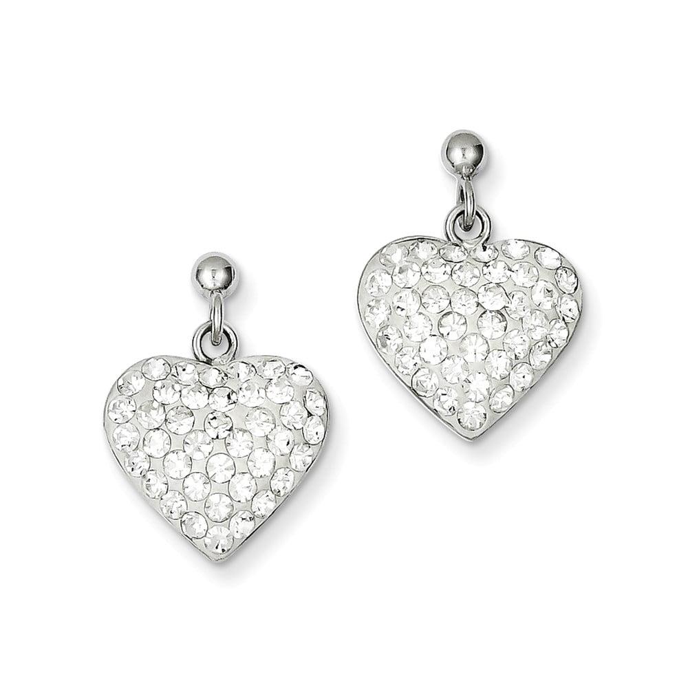 Sterling Silver CZ & Stellux Crystal Heart Earrings (0.6IN x 0.5IN )