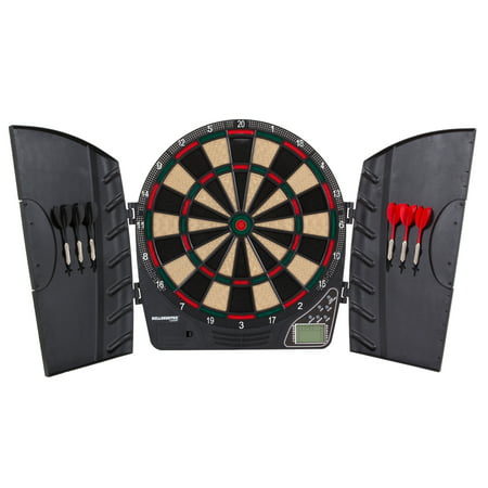Bullshooter Reactor Electronic Dartboard and Cabinet with LCD display, Cricket Scoring Displays, 8-Player Scoring, and (Blade 3 Dartboard)