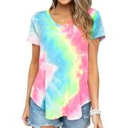 Women Short Sleeve V Neck Tie Dyed Print Shirt