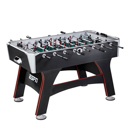 "ESPN 56"" Foosball Table, Includes 2 soccer balls, Traditional bead scorers, Black/Red/Green"