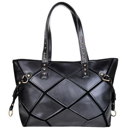 Vbiger New Style Vintage Leather Womens Shoulder Bag Large PU Handbag Tote Bag, Black