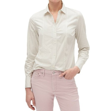 New  Banana Republic Womens Grey White Mixed Stripe Tailored Fit Shirt Sz 12 4079-5 Tailored Fit Mix