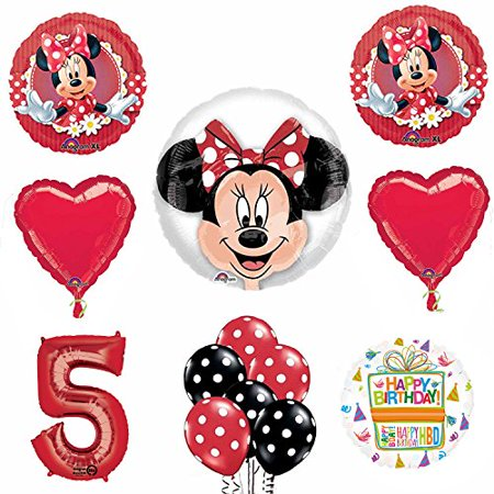 Minnie Mouse 5th Birthday Party Supplies And Red Bow 13 Pc Balloon Decorations