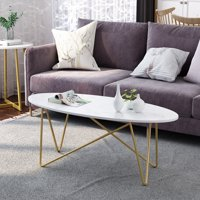 Oval Wooden Tea Table with Gold-Colored Metal Base for Living Room Office Small Spaces, White Marble Texture