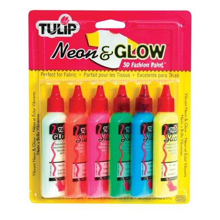 Tulip Washable 3D Fabric Paint Set, 1.25 oz Bottle, Assorted Neon Glow Color, Set of 6