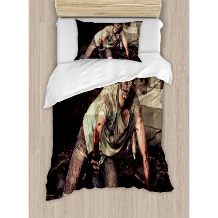 Zombie Decor Twin Size Duvet Cover Set, Halloween Scary Dead Man in Old Building with Bloody Head Nightmare Theme, Decorative 2 Piece Bedding Set with 1 Pillow Sham, Grey Mint Peach, by Ambesonne