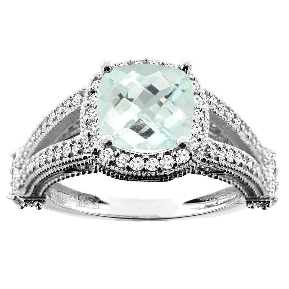 10K White Gold Natural Aquamarine Split Shank Ring Cushion 7x7mm Diamond Accent, size 5 by Gabriella Gold