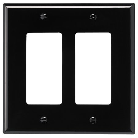 Cooper Black Wall Plate (Cooper PJ262BK Black Unbreakable Mid-Size Two Gang Decorator Wall Plate)