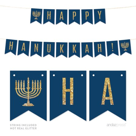 Happy Hanukkah! Gold Glitter Holiday Hanging Pennant Party Banner (Hanukkah Supplies)