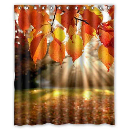 GreenDecor Attractive Fall Leaves Hop Treasure Inch Waterproof Shower Curtain Set with Hooks Bathroom Accessories Size 60x72 inches ()