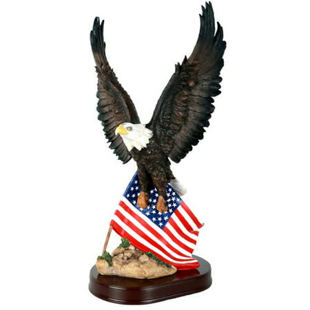 American Eagle With Flag Stars And Stripes Old Spangled Banner Statue Wood Base Figurine Home