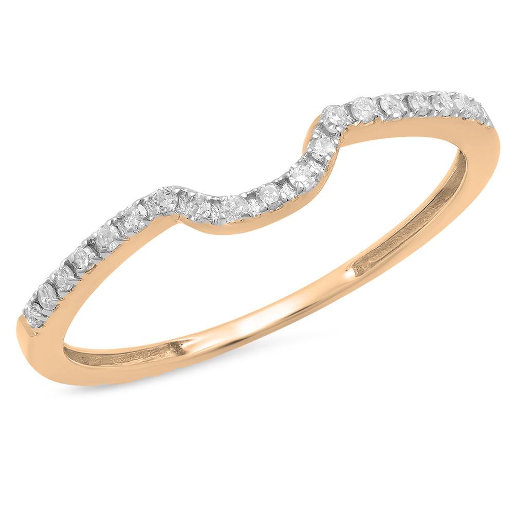 0.12 Carat (ctw) 18K Rose Gold Round White Diamond Ladies Anniversary Wedding Band Guard Ring